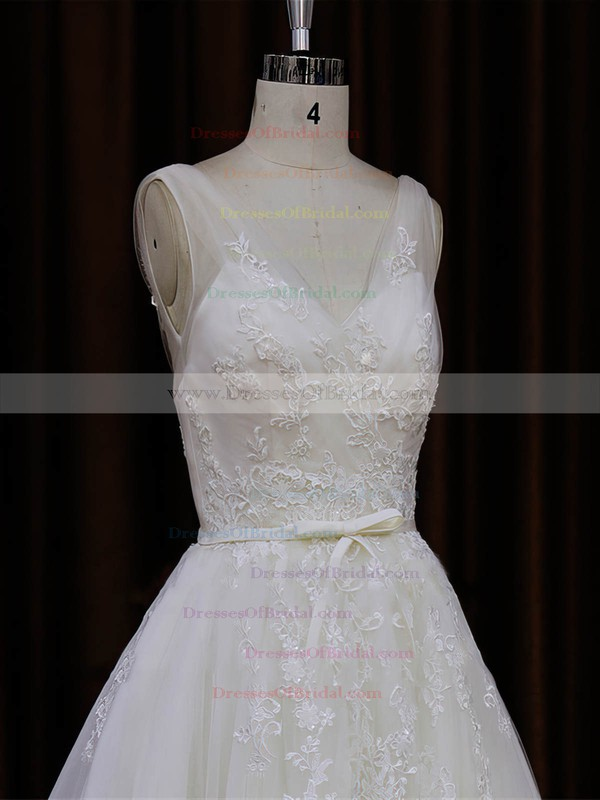 Chapel Train Ivory Tulle Appliques Lace V-neck Modest Wedding Dresses #DOB00022046