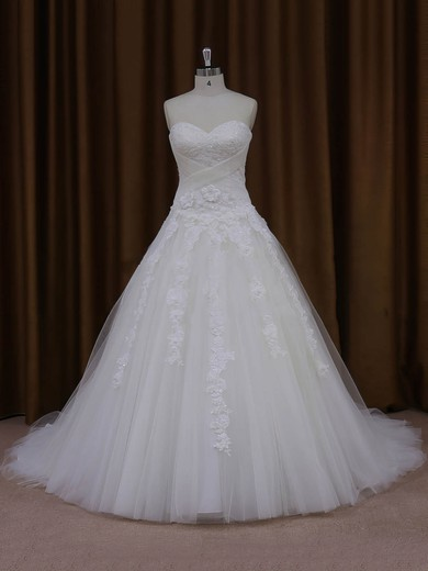 Court Train Tulle with Appliques Lace Online Ivory Ball Gown Wedding Dresses #DOB00022047
