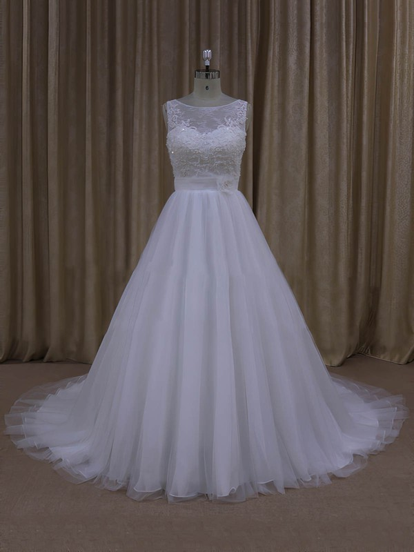 Simple Scoop Neck Tulle Appliques Lace Court Train Covered Button Wedding Dresses #DOB00022048