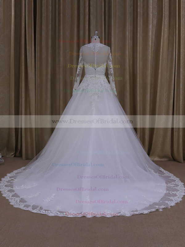 Ivory Long Sleeve Scoop Neck Tulle Appliques Lace Chapel Train Wedding Dresses #DOB00022050