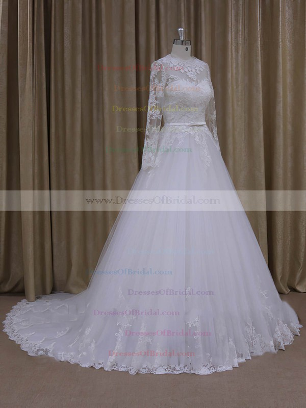 Ivory Long Sleeve Scoop Neck Tulle Appliques Lace Chapel Train Wedding Dresses #DOB00022050