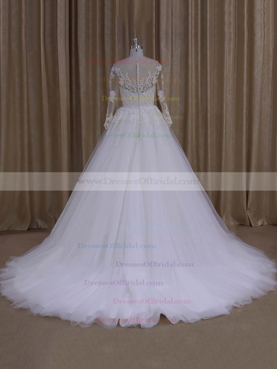 Long Sleeve Ivory Scoop Neck Tulle with Appliques Lace Princes Wedding Dresses #DOB00022051