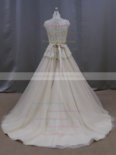 Court Train Champagne Lace Tulle Sashes/Ribbons Amazing Scoop Neck Wedding Dresses #DOB00022053