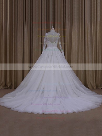 Scoop Neck Ivory Long Sleeve Tulle Appliques Lace Ball Gown Exclusive Wedding Dresses #DOB00022054
