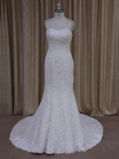 Trumpet/Mermaid Ivory Lace Beading For Cheap Strapless Wedding Dresses #DOB00022055
