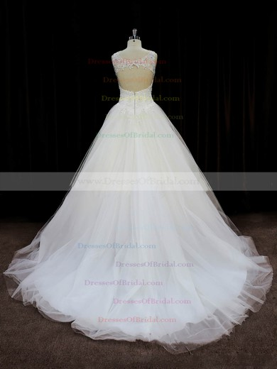 Ball Gown Tulle Appliques Lace Court Train Open Back Ivory Wedding Dresses #DOB00022058