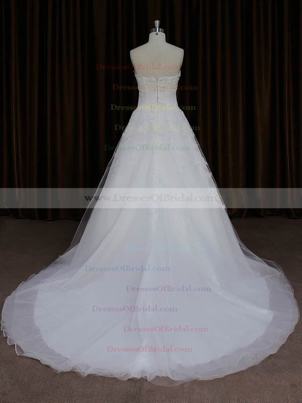 A-line Great Ivory Tulle Appliques Lace Sweetheart Wedding Dresses #DOB00022059