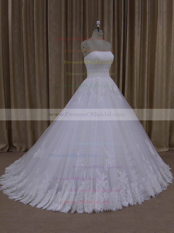 Strapless Lace-up Ivory Tulle with Appliques Lace Ball Gown Wedding Dresses #DOB00022062