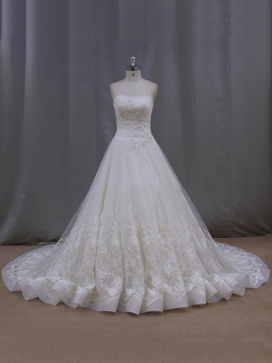 Ivory Nice Strapless Lace Tulle Appliques Lace Chapel Train Wedding Dresses #DOB00022063