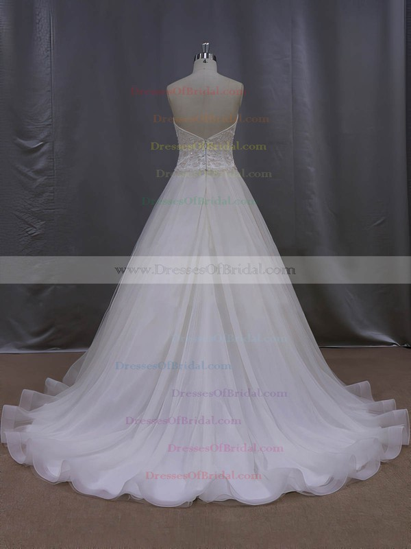 Perfect Sweetheart Tulle with Beading Court Train Ivory Wedding Dresses #DOB00022064