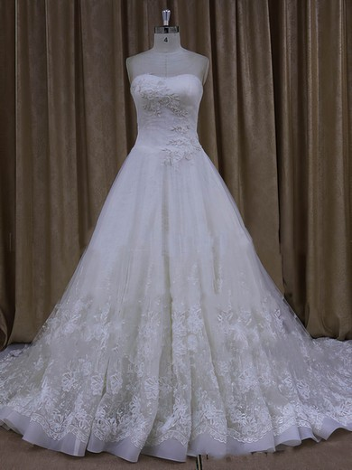 Pretty Chapel Train Ivory Tulle with Appliques Lace A-line Wedding Dresses #DOB00022065