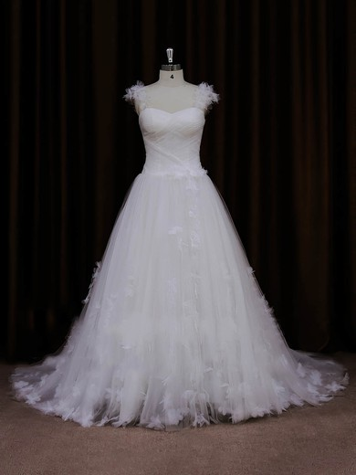 A-line Ivory Tulle Appliques Lace Wholesale Sweetheart Wedding Dresses #DOB00022066
