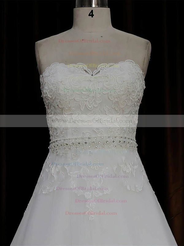 Sweep Train Affordable Ivory Tulle Appliques Lace A-line Wedding Dresses #DOB00022067