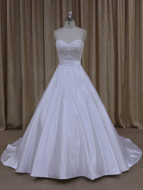 Beautiful Lace-up Court Train White Satin Beading Sweetheart Wedding Dresses #DOB00022068