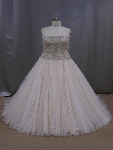 Casual Champagne Court Train Tulle Crystal Detailing Sweetheart Wedding Dresses #DOB00022069