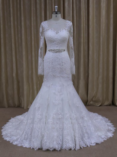 White Long Sleeve Tulle with Appliques Lace Trumpet/Mermaid Wedding Dresses #DOB00022071