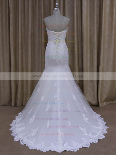 Trumpet/Mermaid Ivory Tulle Appliques Lace Cheap Sweep Train Wedding Dresses #DOB00022072