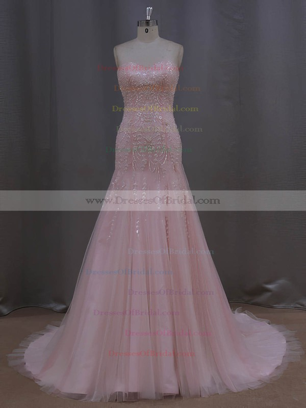 Custom Trumpet/Mermaid Ivory Tulle Beading Sweetheart Wedding Dresses #DOB00022073