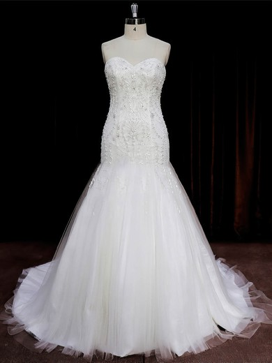 Custom Trumpet/Mermaid Ivory Tulle Beading Sweetheart Wedding Dresses #DOB00022073