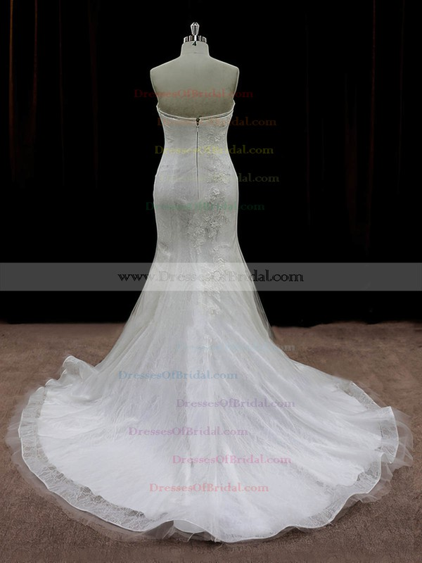 Ivory Tulle Appliques Lace Designer Strapless Trumpet/Mermaid Wedding Dresses #DOB00022074