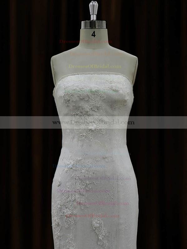Ivory Tulle Appliques Lace Designer Strapless Trumpet/Mermaid Wedding Dresses #DOB00022074