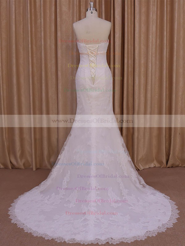 Different Ivory Strapless Lace-up Tulle Appliques Lace Trumpet/Mermaid Wedding Dresses #DOB00022075