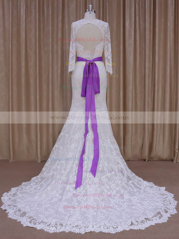 Trumpet/Mermaid Long Sleeve Ivory Lace with Sashes/Ribbons Lace-up Wedding Dresses #DOB00022076