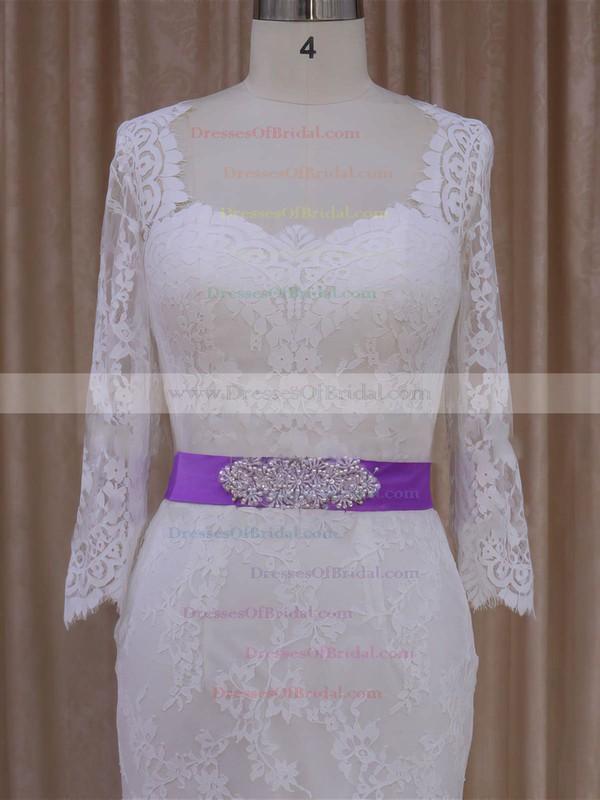 Trumpet/Mermaid Long Sleeve Ivory Lace with Sashes/Ribbons Lace-up Wedding Dresses #DOB00022076