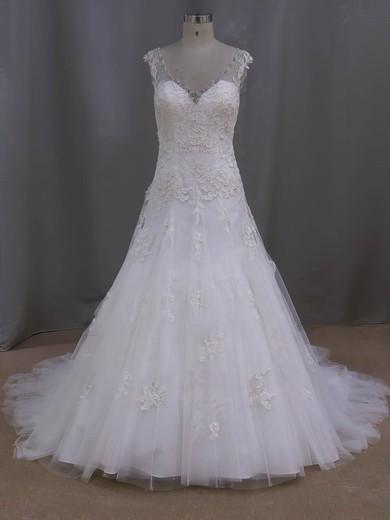 Ivory Court Train Tulle Appliques Lace Discount V-neck Wedding Dresses #DOB00022077