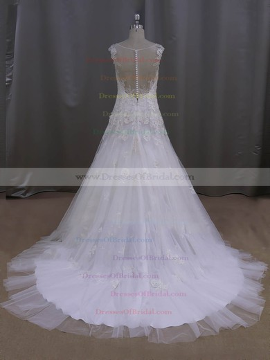 Ivory Court Train Tulle Appliques Lace Discount V-neck Wedding Dresses #DOB00022077