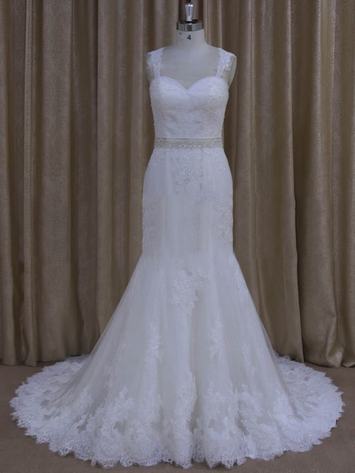 Sweetheart Open Back Ivory Tulle Appliques Lace Trumpet/Mermaid Wedding Dresses #DOB00022078