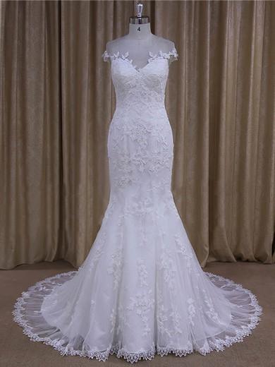 Elegant White Tulle Appliques Lace Trumpet/Mermaid Scoop Neck Wedding Dresses #DOB00022080