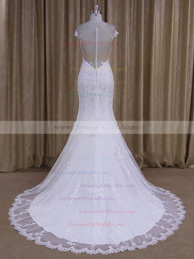 Elegant White Tulle Appliques Lace Trumpet/Mermaid Scoop Neck Wedding Dresses #DOB00022080