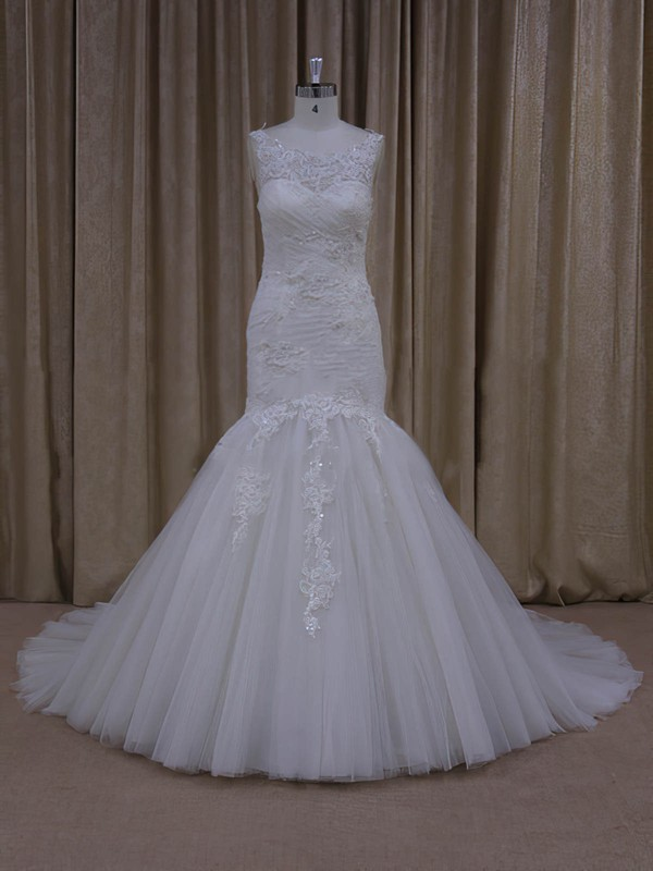 Trumpet/Mermaid Ivory Modern Tulle Appliques Lace Sweep Train Wedding Dresses #DOB00022081