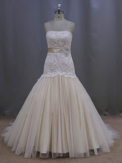 Modest Strapless Trumpet/Mermaid Lace Tulle with Sashes/Ribbons Champagne Wedding Dresses #DOB00022082