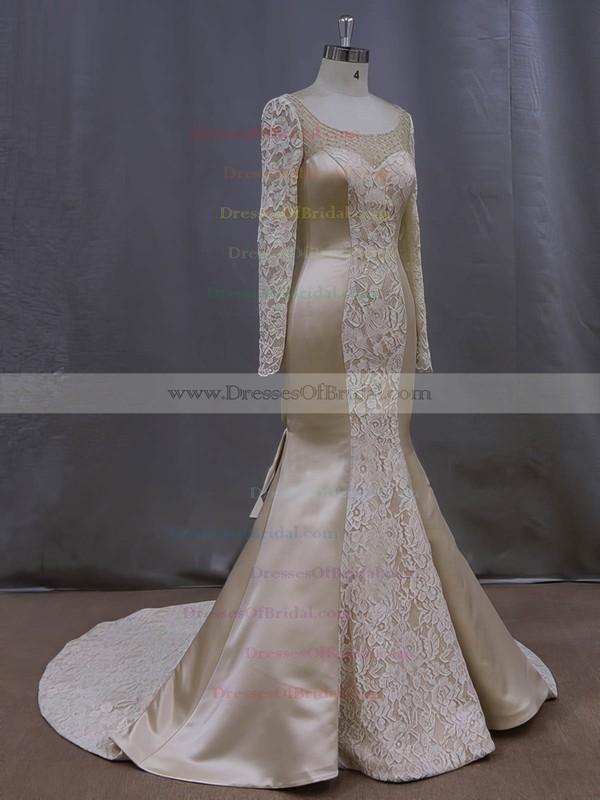 Online Scoop Neck Long Sleeve Champagne Lace Satin Trumpet/Mermaid Wedding Dresses #DOB00022083