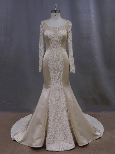 Online Scoop Neck Long Sleeve Champagne Lace Satin Trumpet/Mermaid Wedding Dresses #DOB00022083