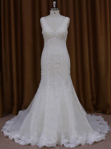 Ivory Tulle Appliques Lace Popular V-neck Trumpet/Mermaid Wedding Dresses #DOB00022084