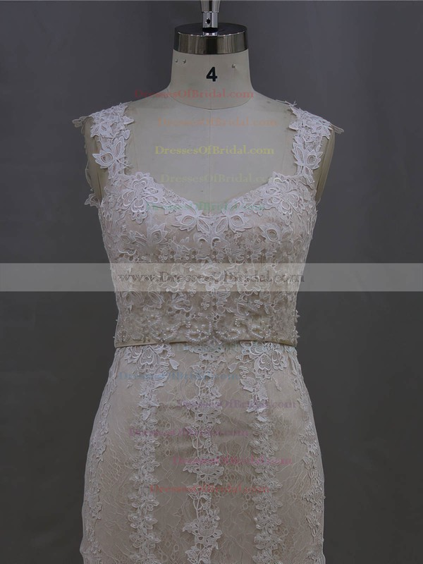 Simple Trumpet/Mermaid Lace Tulle Sashes/Ribbons V-neck Ivory Wedding Dresses #DOB00022085