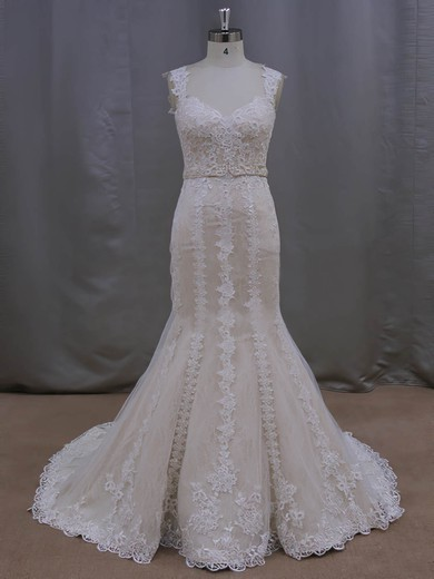 Simple Trumpet/Mermaid Lace Tulle Sashes/Ribbons V-neck Ivory Wedding Dresses #DOB00022085