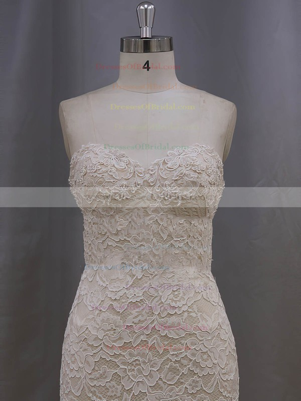 Champagne Lace Tulle Tiered Trumpet/Mermaid Unique Sweetheart Wedding Dresses #DOB00022086