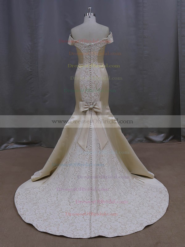 Amazing Off-the-shoulder Champagne Lace Satin Bow Court Train Wedding Dresses #DOB00022087