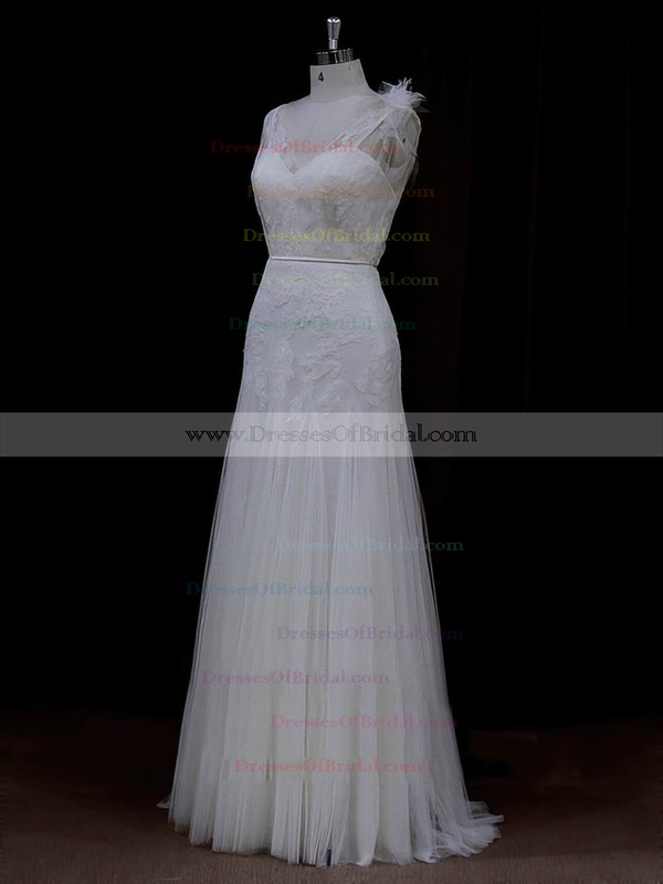 V-neck Exclusive Tulle with Appliques Lace Ivory Sheath/Column Wedding Dresses #DOB00022088