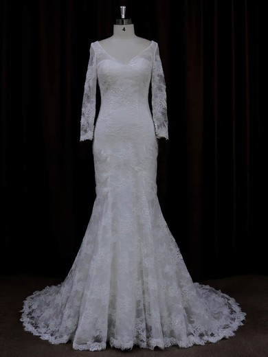 Court Train Long Sleeve Lace with Buttons V-neck Ivory Wedding Dresses #DOB00022089