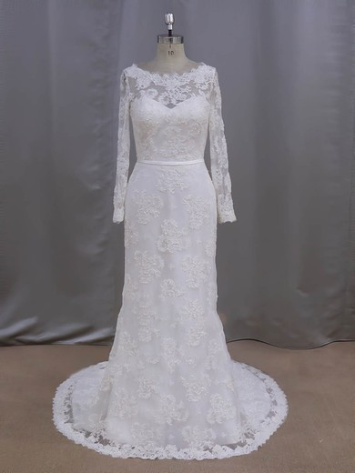 Sheath/Column Ivory Lace with Sequins Long Sleeve Scoop Neck Wedding Dresses #DOB00022090