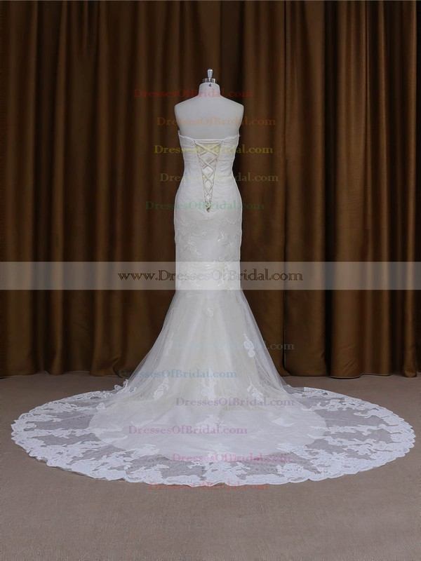 Trumpet/Mermaid For Cheap Ivory Lace Tulle Beading Lace-up Sweetheart Wedding Dresses #DOB00022091