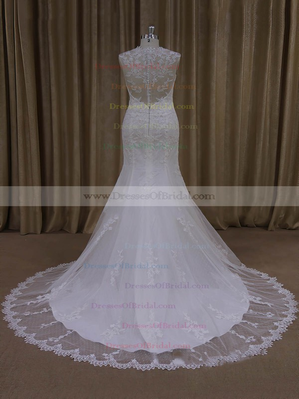 Gorgeous Ivory Trumpet/Mermaid Tulle Appliques Lace V-neck Wedding Dresses #DOB00022092