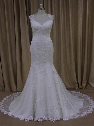 Gorgeous Ivory Trumpet/Mermaid Tulle Appliques Lace V-neck Wedding Dresses #DOB00022092