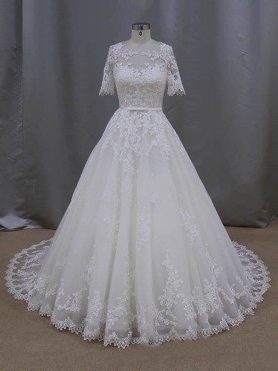 Ball Gown Ivory Tulle Appliques Lace 1/2 Sleeve Scoop Neck Wedding Dresses #DOB00022093