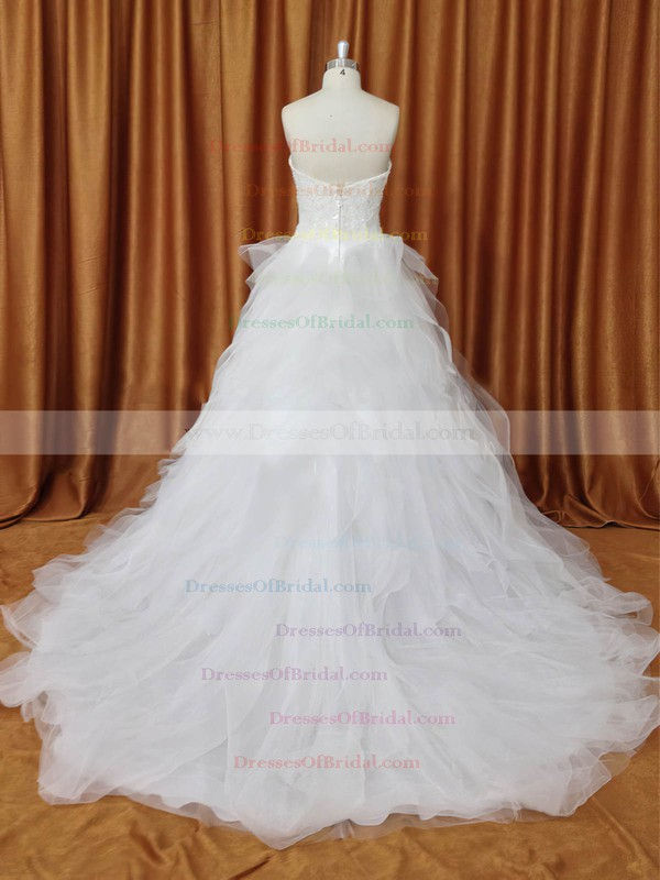 A-line Ivory Tulle with Appliques Lace Inexpensive Strapless Wedding Dresses #DOB00022094